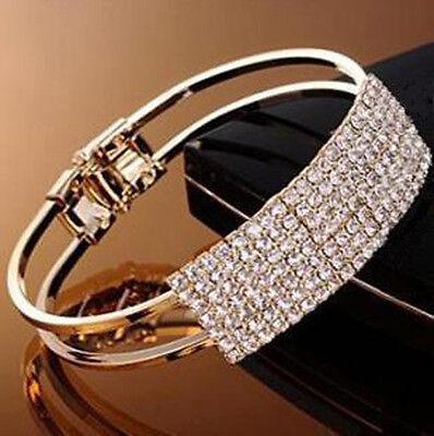 New Women Fashion Style Gold Rhinestone Bangle Cuff Bracelet Jewelry