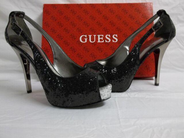 8854761811 GUESS Hondola 2 Black Womens DESIGNER Shoes Evening Open Toe Platform PUMPS  9.5