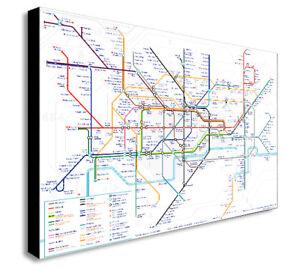 fb05e7216e4 LONDON UNDERGROUND MAP CITY WALL ART CANVAS PRINT FRAMED - Various ...
