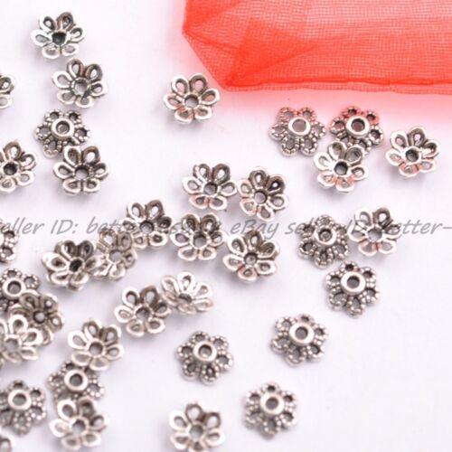 100Pcs Tibetan Silver Metal Flower Loose Spacer Beads Caps Lots 6MM A3012