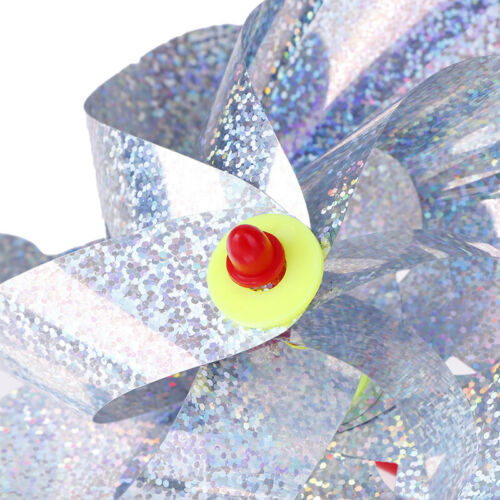 Bird Repellent Reflective Pinwheel Sparkly Holographic Silver Spinners H0