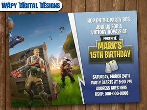 Fortnite M2 Digital Party Invitation Personalized Birthday Ebay