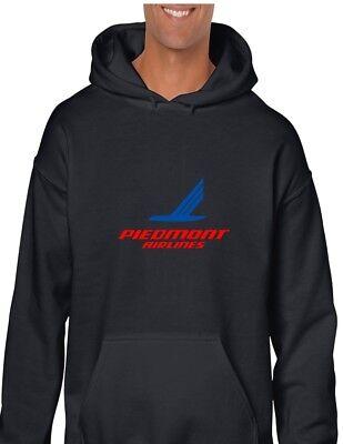 Piedmont Airlines Red Blue Logo US Aviation Geek Black Hoodie Hooded Sweatshirt