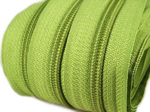 1,08€//1m 6m Endlos-Reißverschluss 5mm mit 15 Zippern und Endstücke 234 grün