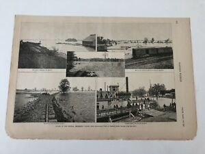 Details about 1888 Harpers Weekly Print Mississippi River Flooding At  Quincy Illinois #3119