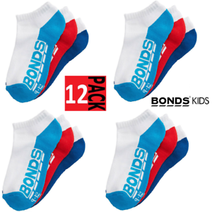 12-x-BONDS-KIDS-SOCKS-Boys-Girls-Low-Cut-Sports-White-Red-Blue-Navy-12-Pairs