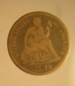 1889-Silver-Seated-Liberty-Dime-Circulated-Good-Condition