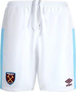 Umbro-2016-17-West-Ham-United-Junior-Kids-Home-Kit-Football-Shorts-White-Sky