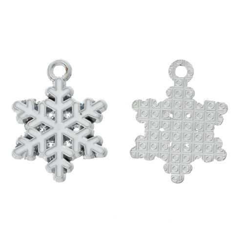 10 White Christmas Snowflake Enameled Silver Tone Charms 24mm x 19mm J63289N