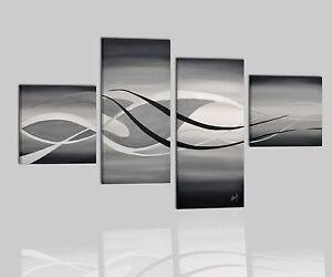Quadri astratti dipinti a mano su tela bianco grigio nero for Immagini astratte moderne