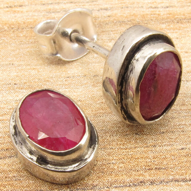 Special Price 0 99 925 Silver Overlay Cut Red Simulated Ruby Earrings 1 Cm