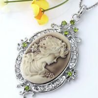1X Vintage Silver Plated Rhinestone Crystal Oval Cameo Lady Beauty Charm Pendant