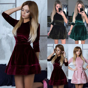87bcfd78783 Fashion Women s Velvet Bodycon Long Sleeve Evening Party Cocktail ...