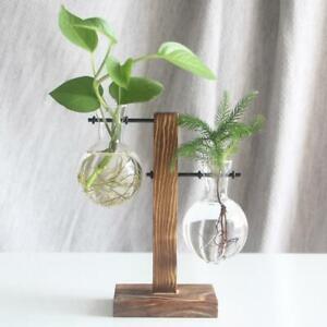 Vintage-Glass-Crystal-Vase-Wood-Tray-Flower-Pot-Plant-Hydroponic-Desktop-Wedding