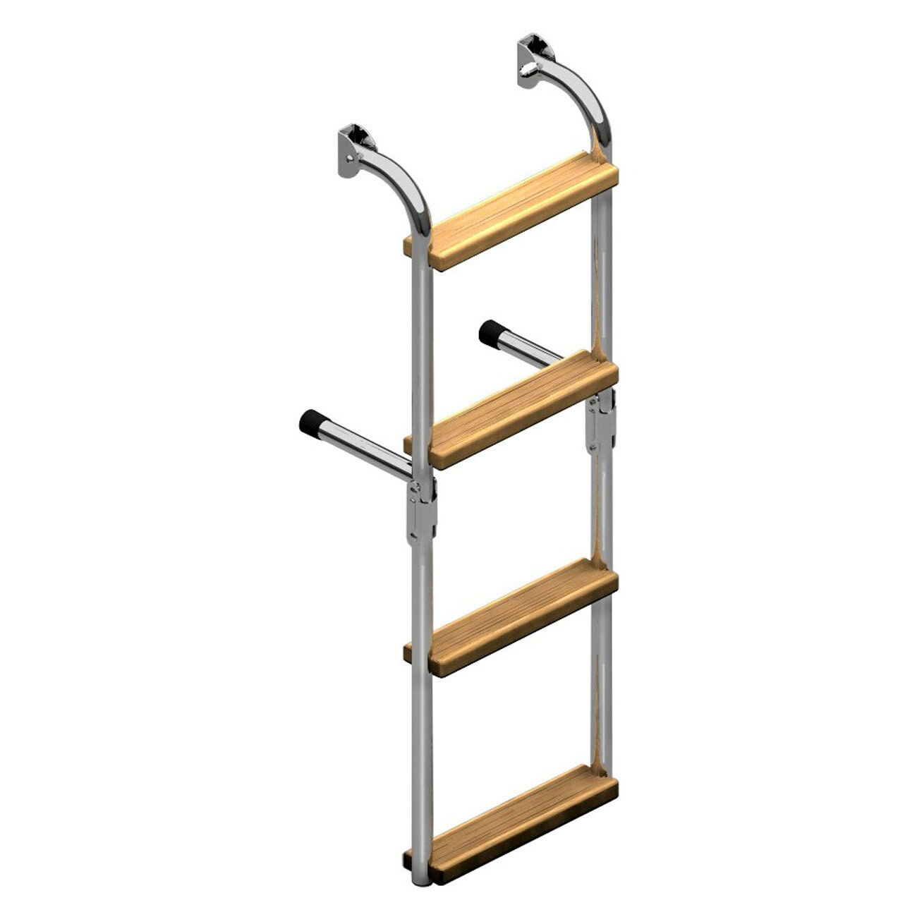 Nautinox Edelstahl Badeleiter fest montiert mit Iroko Stufen Stufen 3, 4, 5 Stufen Iroko Stiefel efa9a6