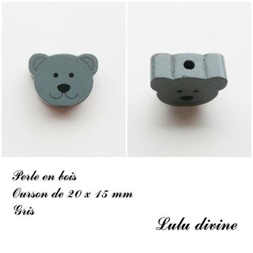 Perle en bois de 20 x 15 mm Perle plate Tête d/'ourson Gris