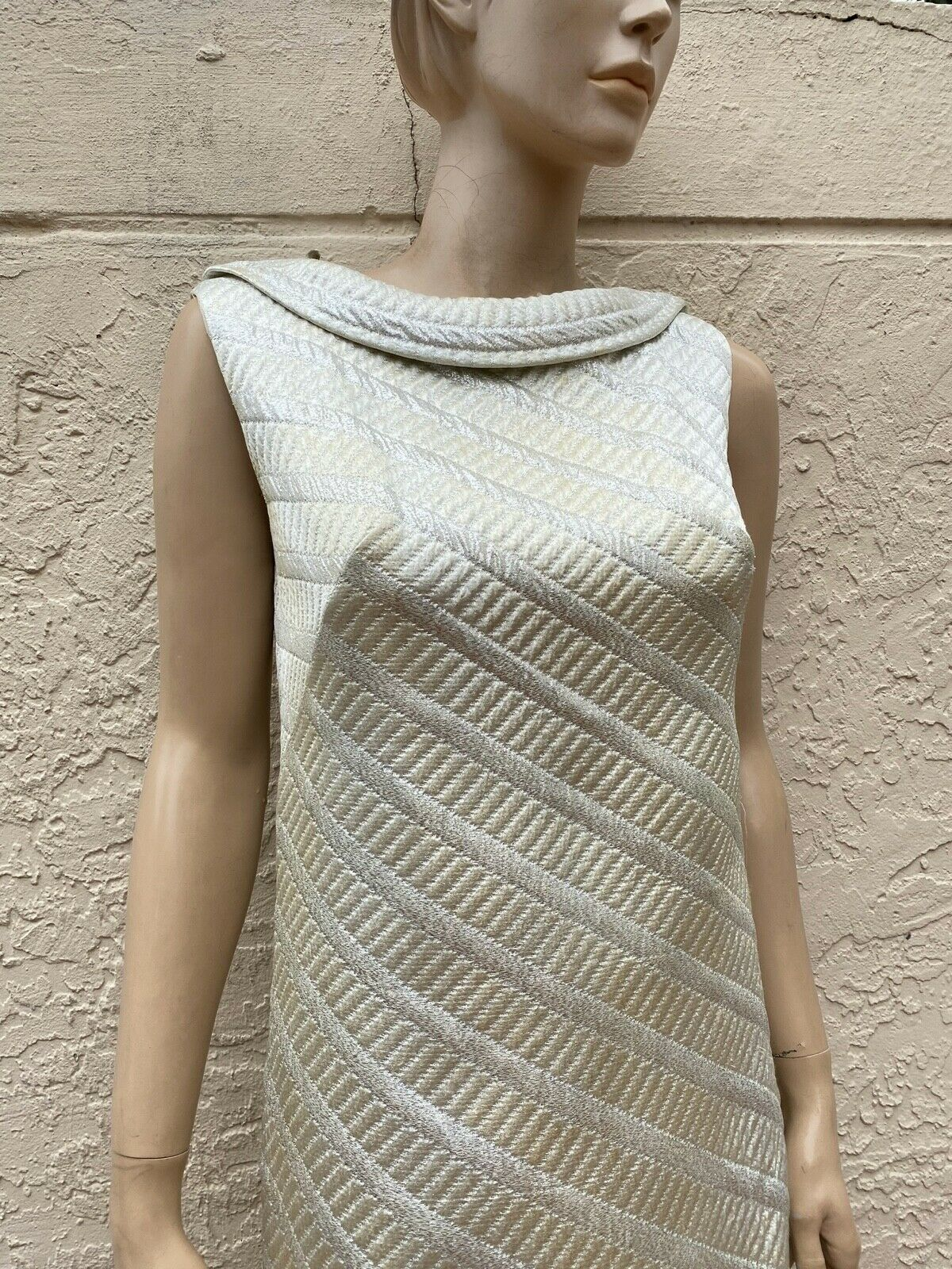 70's NELLY DE GRAB JACKIE-O METALLIC SILVER LONG … - image 2