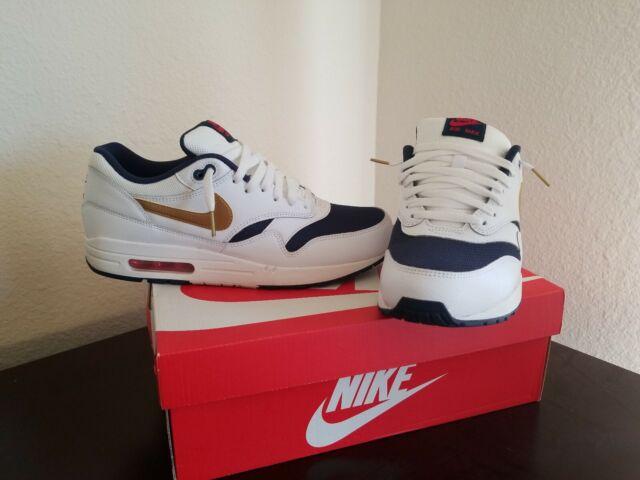 tania wyprzedaż przystojny Los Angeles Nike Air Max 1 Essential 537383 127 USA Olympic Size 10.5 White Blue Red 95  97