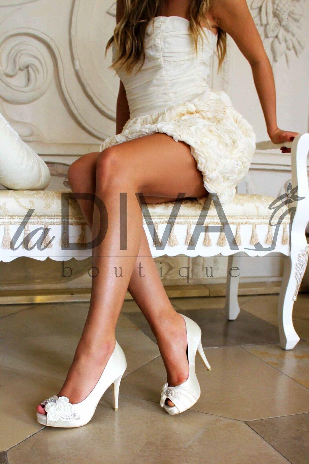 MENBUR  Peep Toe Pumps mit Strass, Blaumen & Perlen Weiß Ivory 39 Brautschuhe