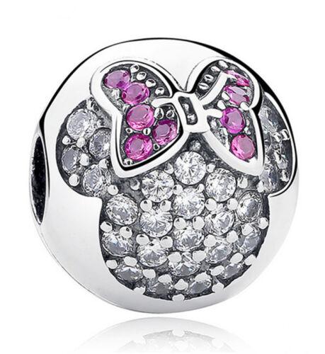 DIY1pcs Silver European CZ Charm Crystal Spacer Beads Fit Necklace Bracelet J507