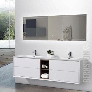 Details zu Badmöbel Set Doppelwaschtisch Waschtisch Weiß matt Innenregal  Rosenholz 190 cm