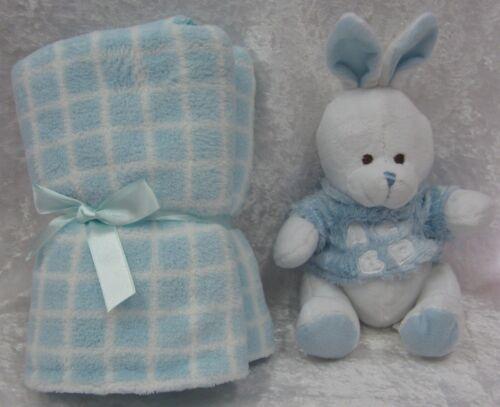 Soft Fluffy Plush Bunny Rabbit & Baby Snuggle Blanket Comforter New In Box Blue