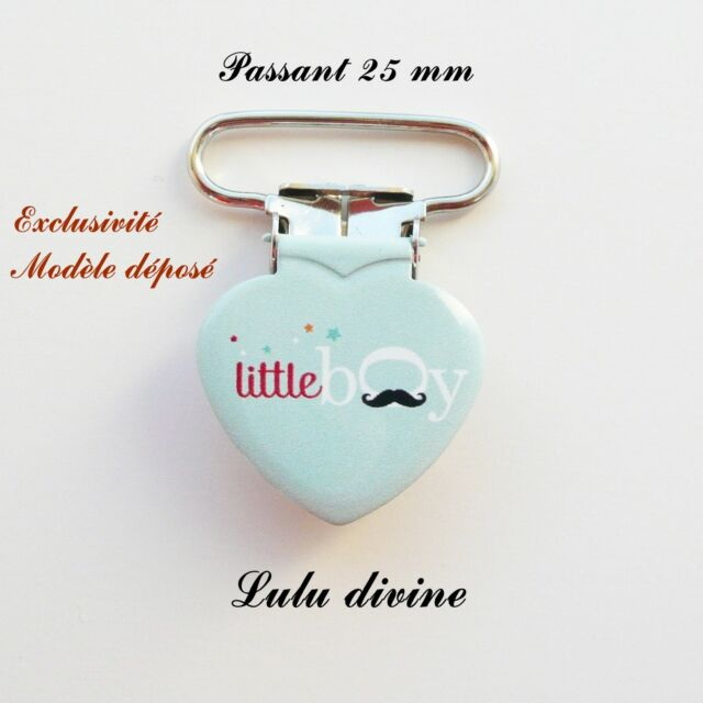 1 Pince Coeur, Attache tétine bleue Moustache Little boy passant de 25 mm