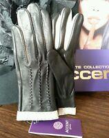 Fancy Genuine Deer Leather Gloves, Color Black , Size 6 1/2