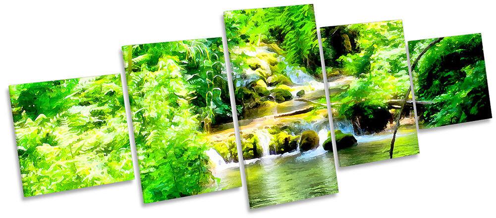 Grün Forest River Landscape Framed CANVAS PRINT Five Panel Wall Art