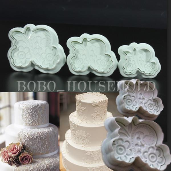 3Pcs Fondant Lace Mold Cake Cookies Plunger Cutter Sugarcraft Decorating Mould