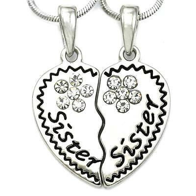 Mothers Day Love Sister Engraved Best Friend BFF Heart Pendant Necklace Charm q1