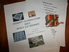 "How to Make a""Stamp Quilt""100 Pieces of 2"" Squares Scrappy,Instructions Inc. #3"