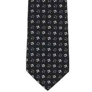 RALPH-LAUREN-PURPLE-LABEL-Geometric-Dark-Navy-Silver-Mens-Silk-Neck-Tie-Italy