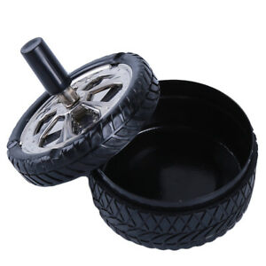 Tire-Design-Metal-Ashtray-with-Lid-Smokeless-Haze-Round-Ashtray-Ash-Holder-Black