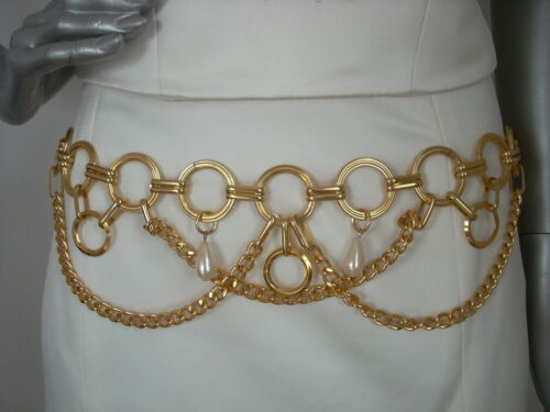 STUNNING GOLD EFFECT  PEARL STYLE BELT