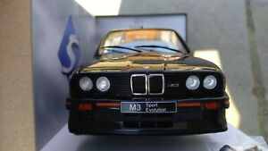 Solido-1-18-Black-Diecast-BMW-M3-E30-Sport-Evolution-1990-Toy-Model-Car