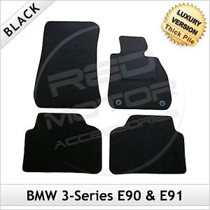 BMW-3-Series-E90-E91-2005-2013-2-Clip-Tailored-LUX-1300g-Car-Carpet-Mats-BLACK