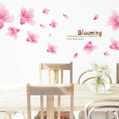 """Charming Lily Flowers""""Blooming""""Wall Stickers Kitchen Dinning Room Decor Mural"""