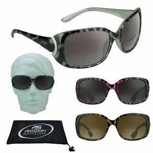 e529209a7f1 Image is loading Womens-BIFOCAL-SUNGLASSES -Oversize-Cheetah-Print-Black-Pink-
