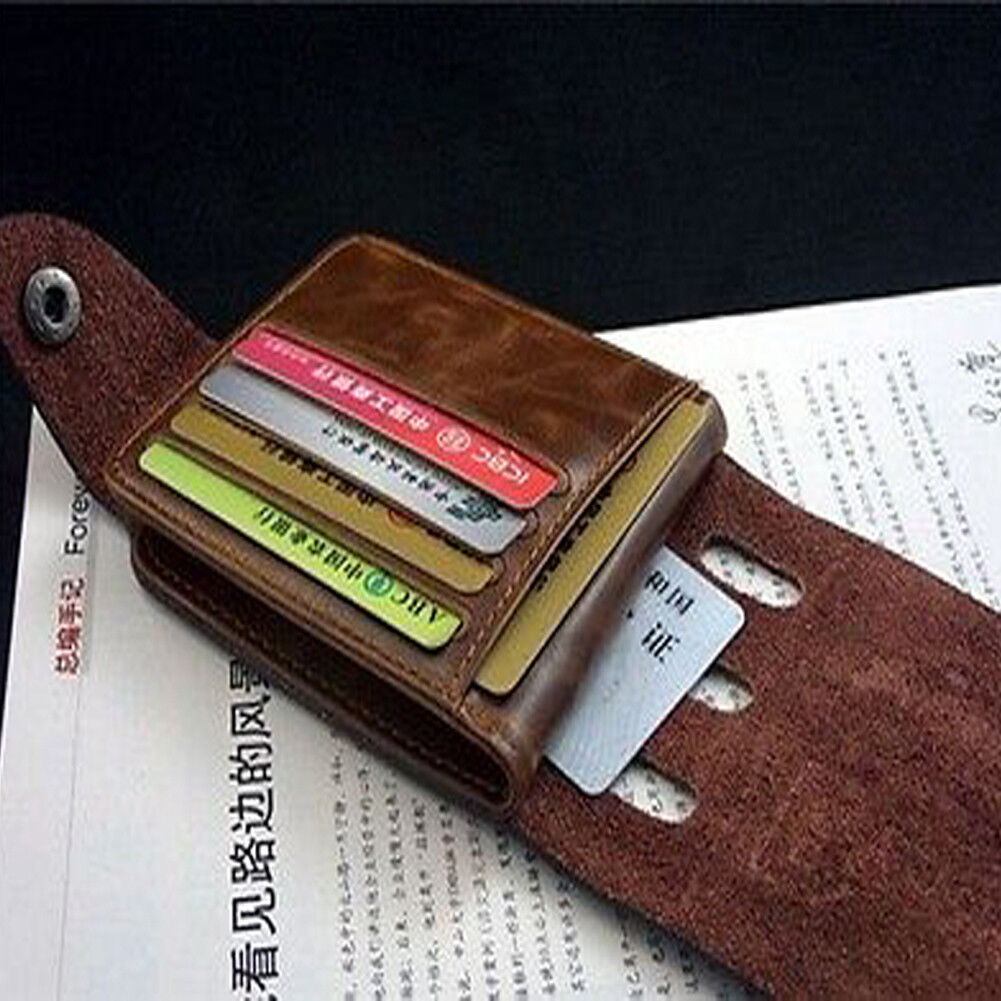 Retro Men Leather Wallet Bifold ID Wallet Front Pocket Purse Card Holder US