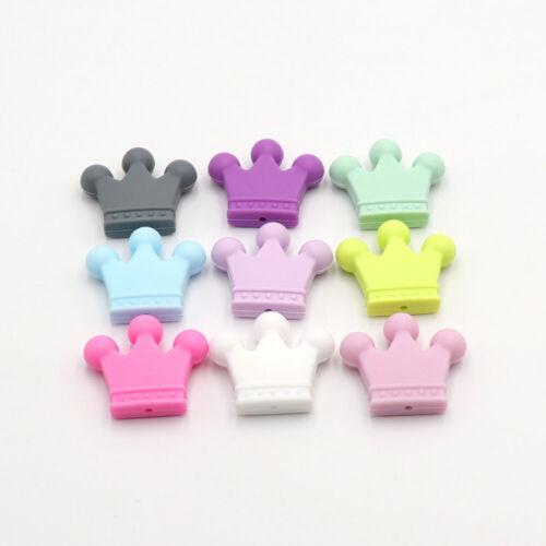 Safe Crown Silicone Beads Teether Baby Teething Chewable Pendant DIY Bracelet