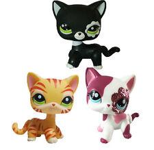 3pcs  littlest pet shop LPS85 Black Cat  & orange tiger striped& pink  Cat