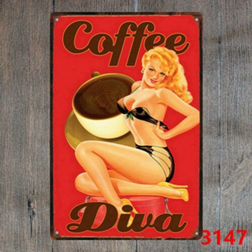 Keep Calm and Drink Coffee Vintage Tin Sign Wall plaque Hanging signs Home Decor