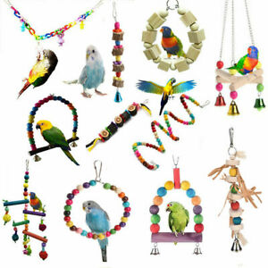 Pets-Bird-Parakeet-Cockatiel-Budgie-Parrot-Hanging-Swing-Rope-Cage-Training-Toys