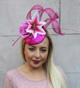 Hot Light Pink Rose Lily Feather Flower Hair Fascinator Hat Races ... b54e0ac6cbc