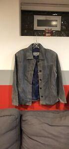 vintage blue suede jacket size  leather jacket size medium