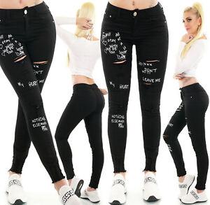 Jeans High Waist Ladies Skinny Jeans Denim Pants Used Look Mit