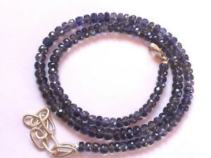 """91-Ct Iolite Gemstone Rondelle Faceted Beads 16.5"""" NECKLACE 4.5-5.5mm S99"""