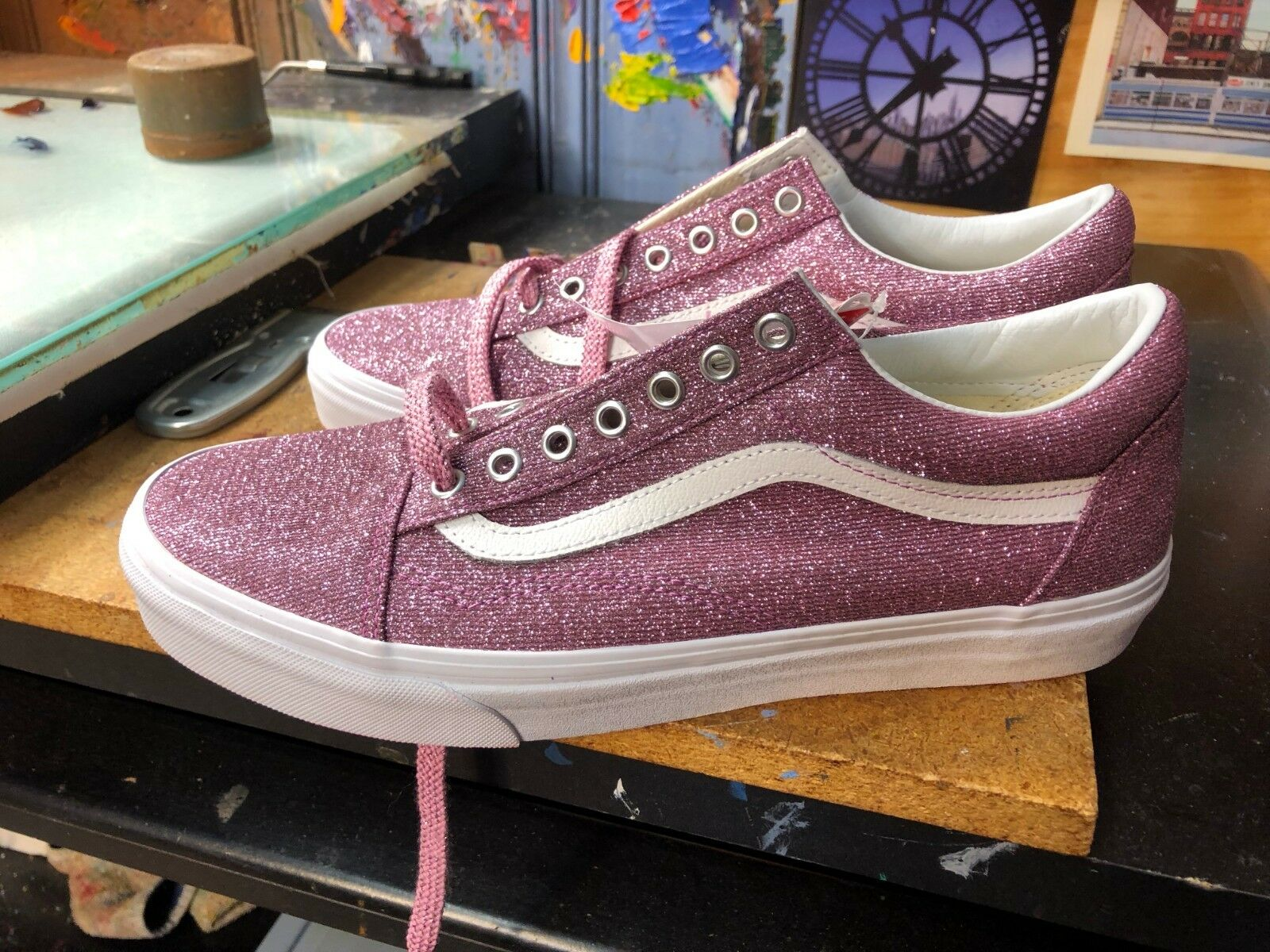 0c36c8597e56 Vans Old Skool (Lurex Glitter) Pink True White US 10 Men s VN0A38G1U3U
