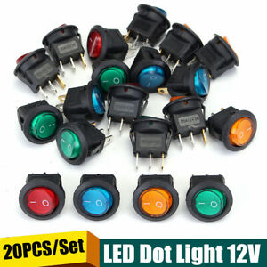 20Pz-Interruttore-A-Pulsante-ON-OFF-Luminoso-LED-20A-12V-Per-Auto-Moto-Barca